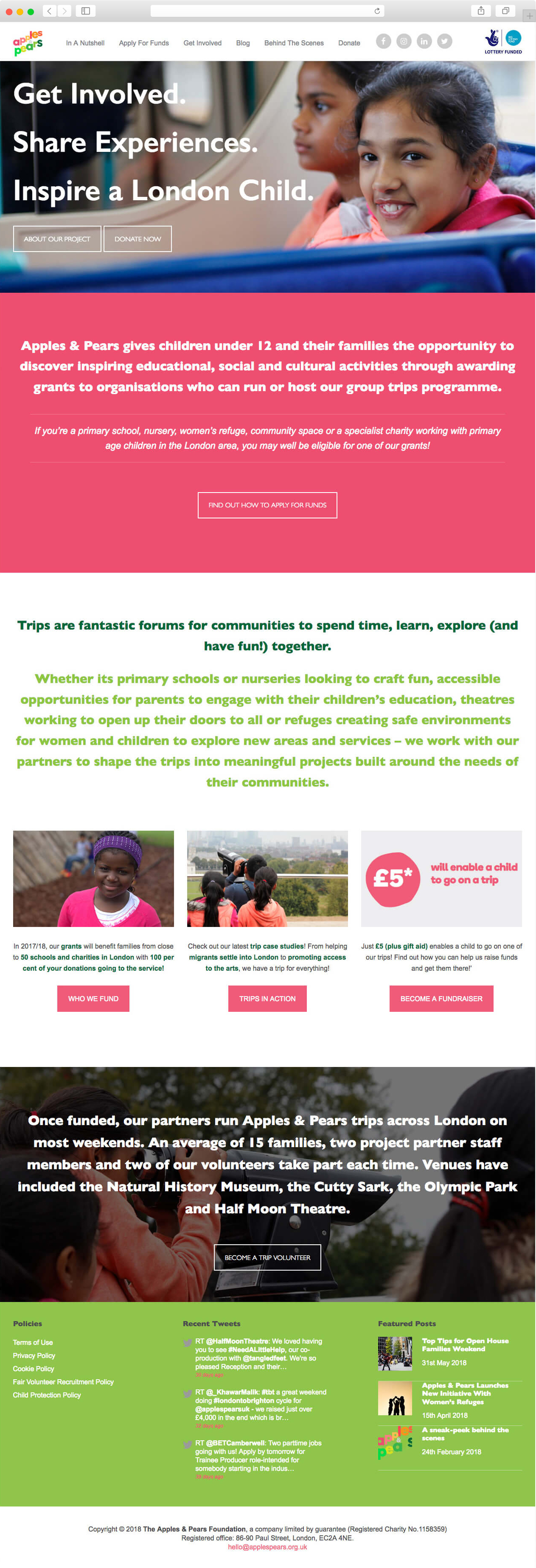 The Apples & Pears Foundation website home page.