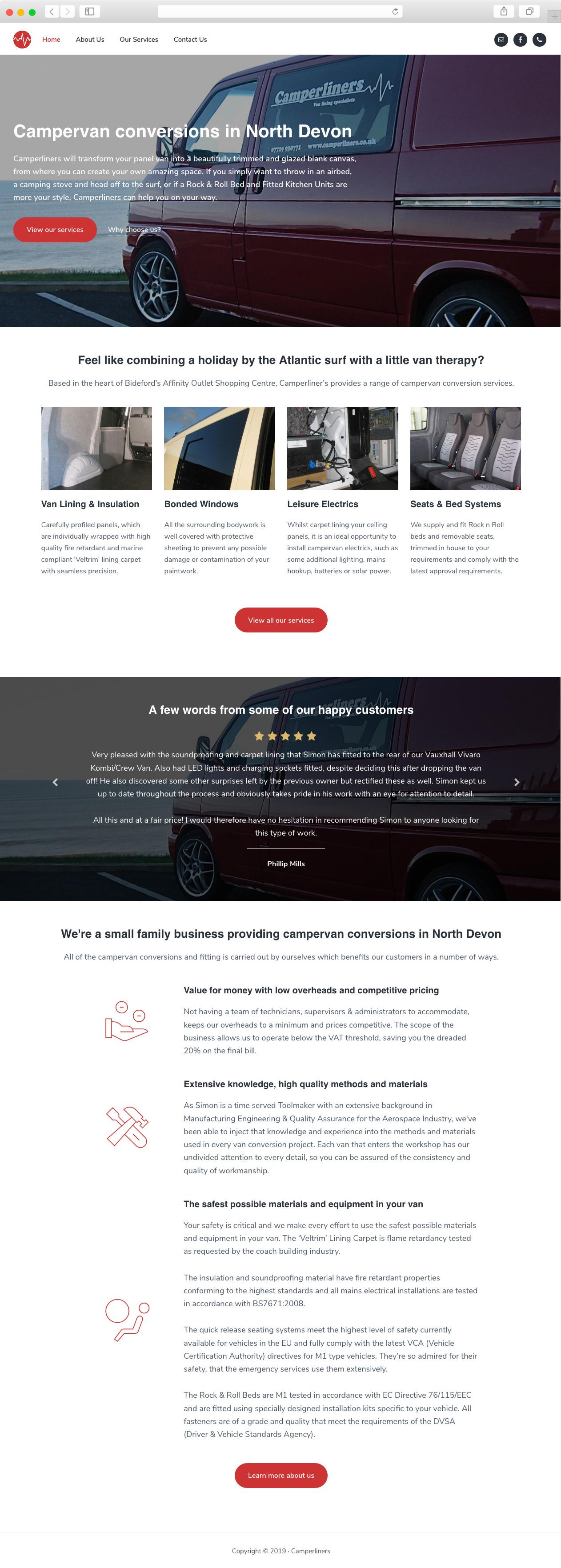 Camperliners website home page