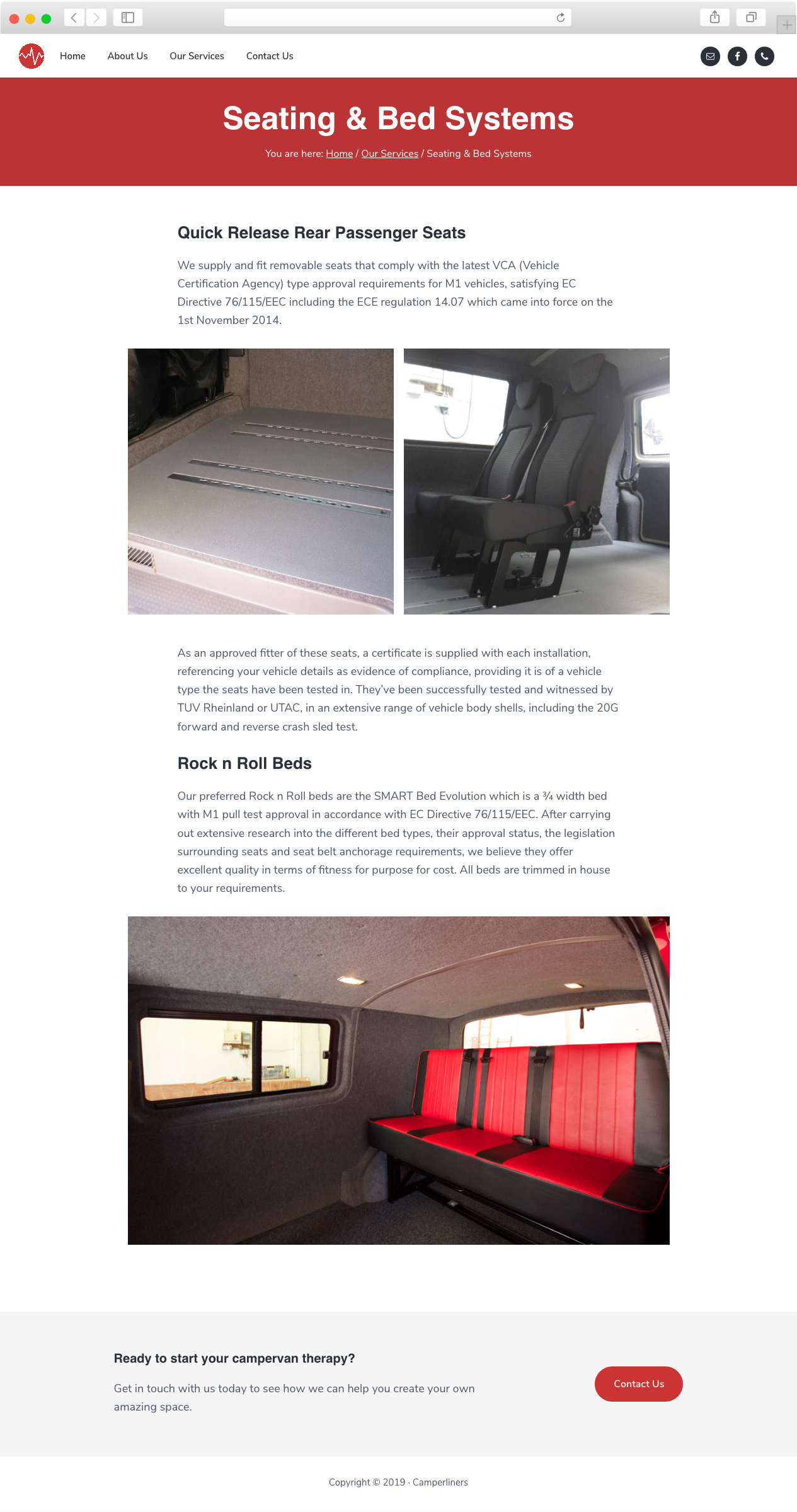 Camperliners website services page.