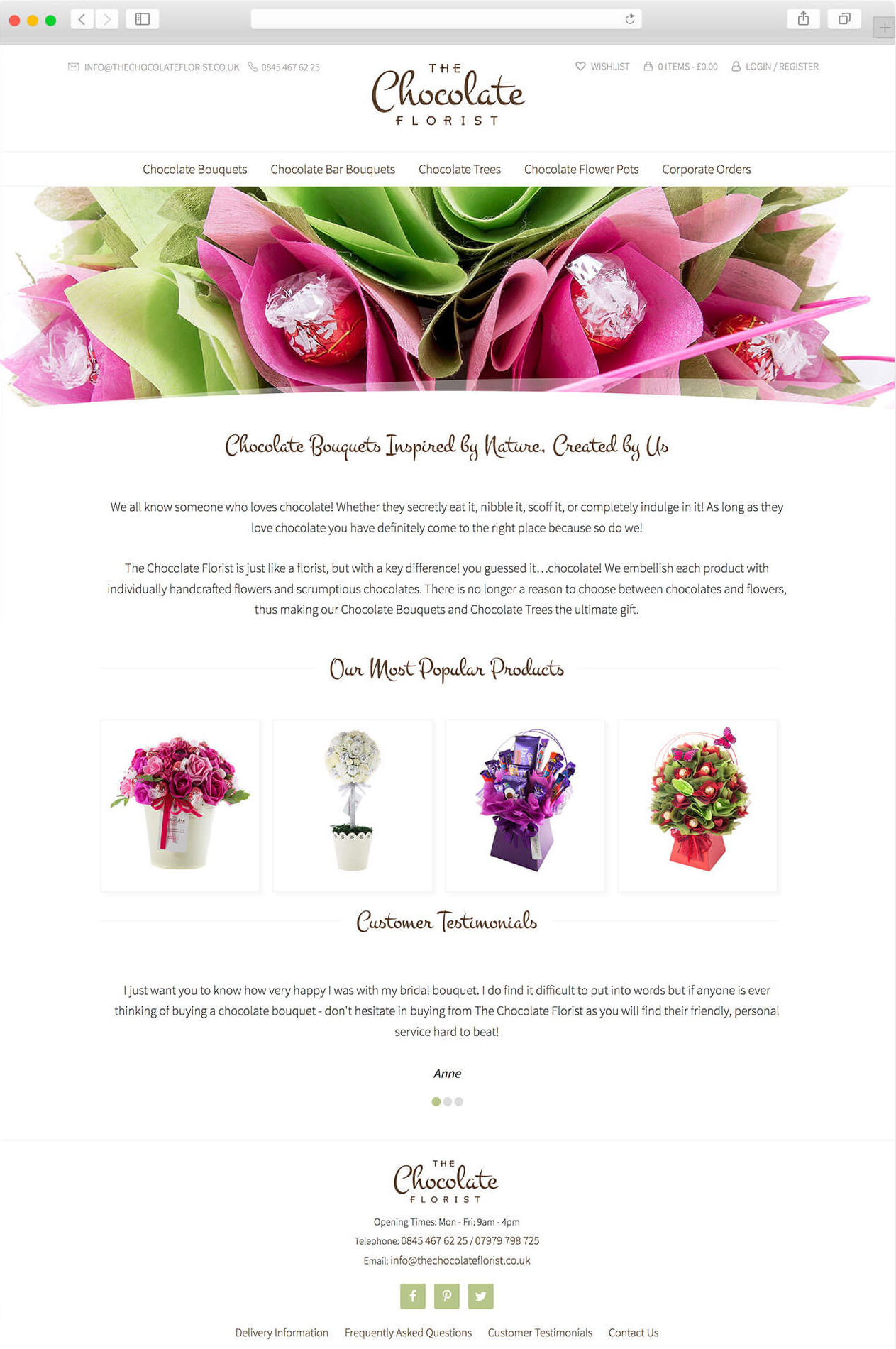 The Chocolate Florist website home page.