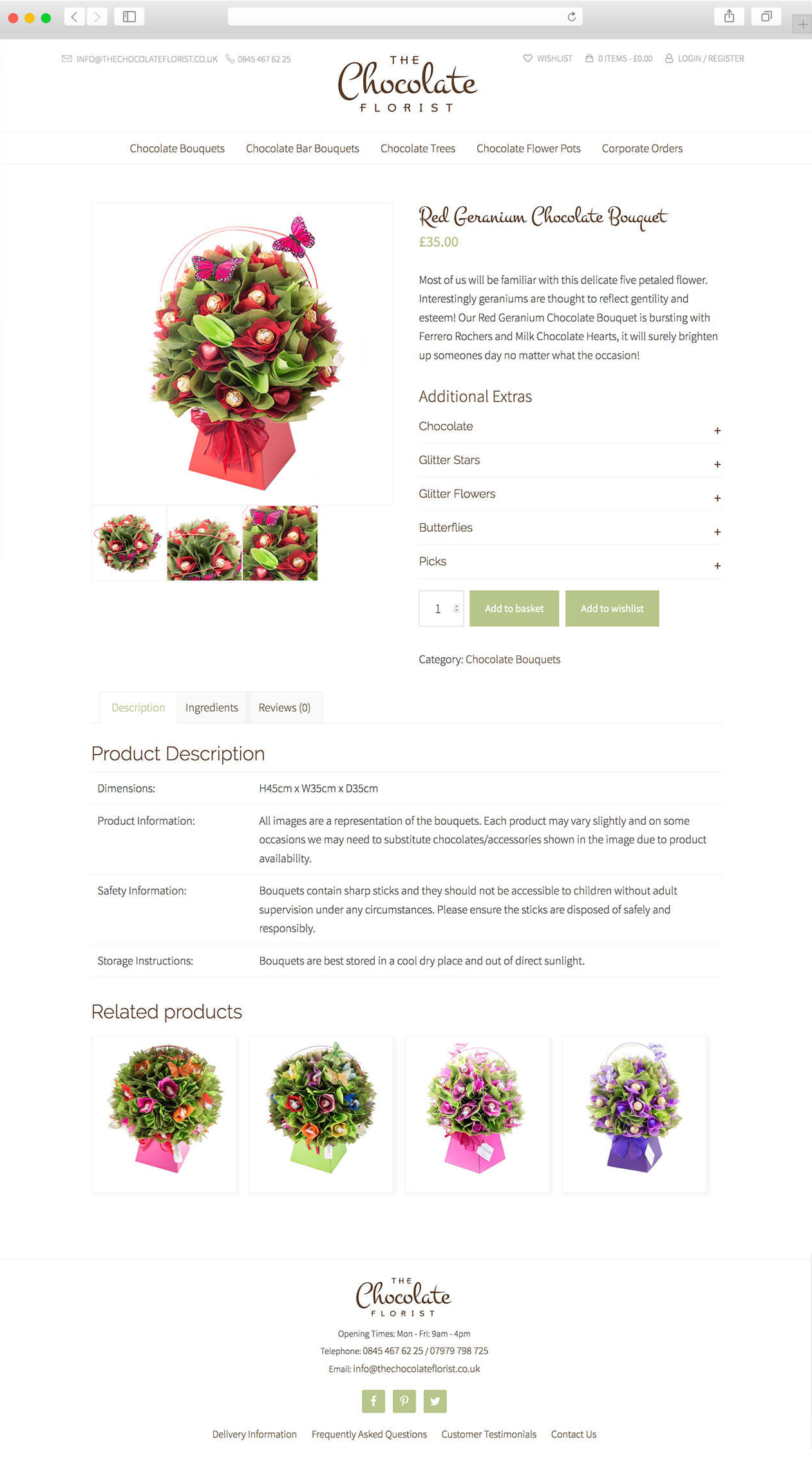 The Chocolate Florist website product page.